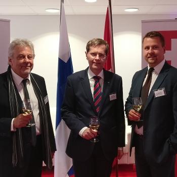 Photo: Mr. Felice G. Romano (Chairman , Chamber of Commerce FI-CH), Mr. Heinrich Maurer (Ambassador of Switzerland in Finland), Dr. Jani Kaarlejärvi (EVP, Business Meeting Park Ltd.), Mr. Gerrit van Setten (Attorney, van Setten Attorneys Ltd.)