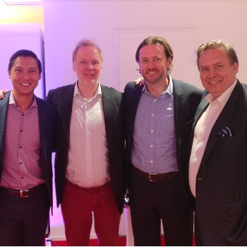 Photo: Mr. Jani Kaarlejärvi (EVP, Business Meeting Park Ltd.), Mr. Brian Yee (Principal, Sherpa Capital), Mr. Monty Wilenius (CEO, Maria DB), Mr. Scott Stanford (Co-Founder & Managing Director, Sherpa Capital), and Mr. Claude Finckenberg (Chairman, Nordic Growth Solutions NGS)