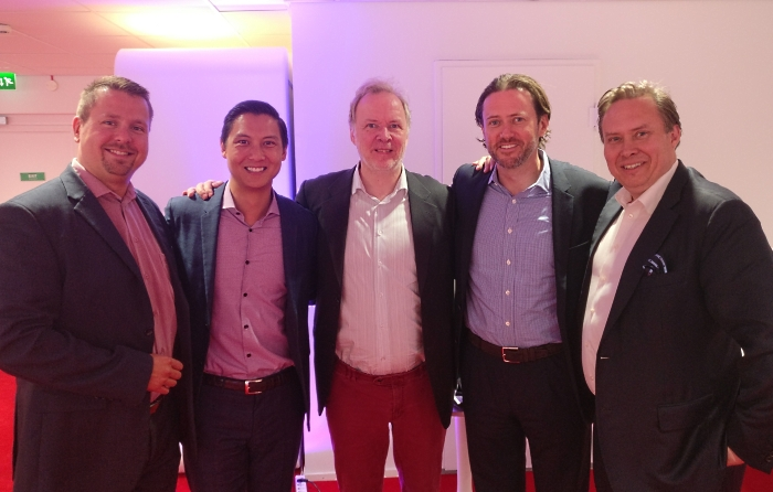 Photo: Mr. Jani Kaarlejärvi (EVP, co-founder, Business Meeting Park Ltd.), Mr. Brian Yee (Principal, Sherpa Capital), Mr. Monty Wilenius (CEO, Maria DB), Mr. Scott Stanford (Co-Founder & Managing Director, Sherpa Capital), and Mr. Claude Finckenberg (Chairman, Nordic Growth Solutions NGS) in Business Meeting Park - Helsinki